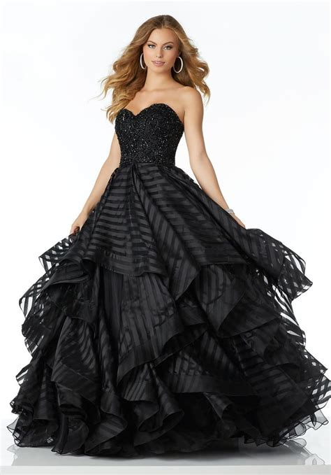 Morilee 42137 Sheer Striped Tiered Ball Gown: French Novelty