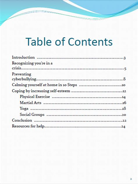 Table of contents research paper mla